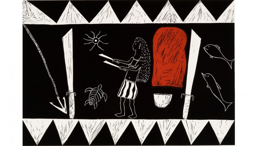 'Gawarrk (Woman turned into rock)' linocut by Dulamari (Djalind Yunupingu)