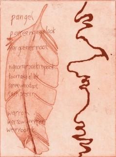 Couzens, Vicki 'Mt Emu Creek - Ngoorat Gundidj', etching 2019